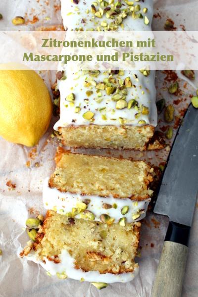Zitronenkuchen mit Mascarpone und Pistazien