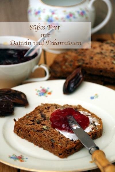 Süßes Brot mit Datteln und Pekannüssen